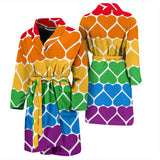 Pride Rainbow Hearts Men's Bathrobe