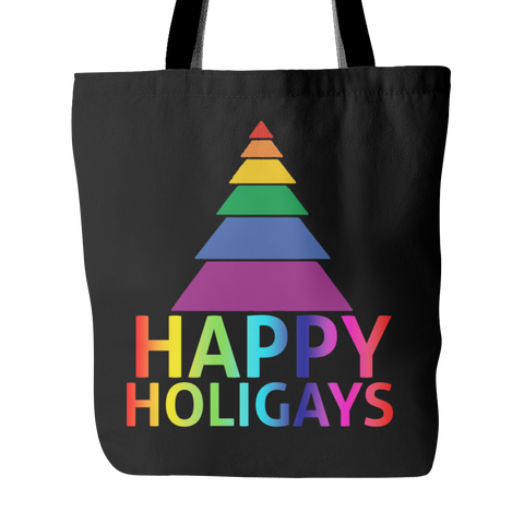 Happy Holigays Black Tote Bag