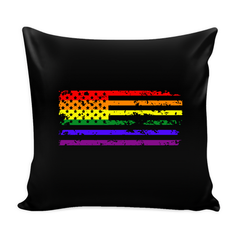 Pride LGBT U.S Rainbow Flag Black Pillow Cover