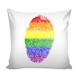 Pride Rainbow Fingerprint White Pillow Cover