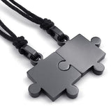 Couples Love Puzzle Necklace Set 2 pcs