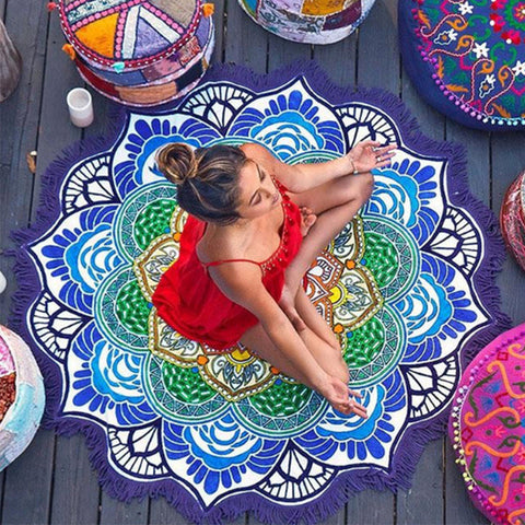 Lotus Rainbow Flower Mandala Tapestry Beach Blanket, Table Cloth & Yoga Mat