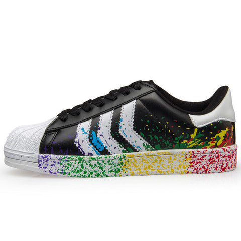Rainbow Splash Leather Unisex Shoes