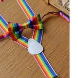 Rainbow Unisex Suspender Bow Tie Set