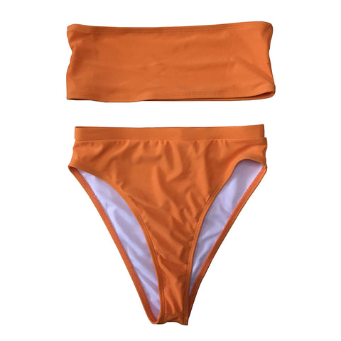 Olivia Strapless High Waisted Bikini Set - Tangerine