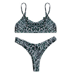 Lunar Stripe Bikini Set - Cheetah Green