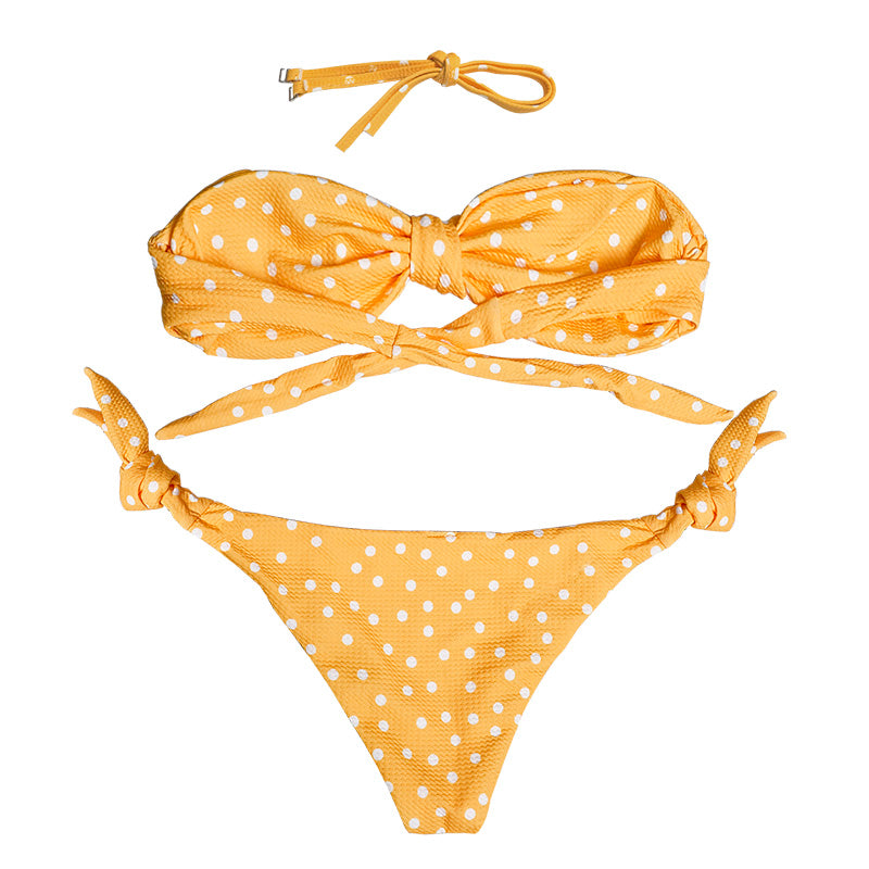Cali Ribbed Bow Tie Bikini Set - Ginger