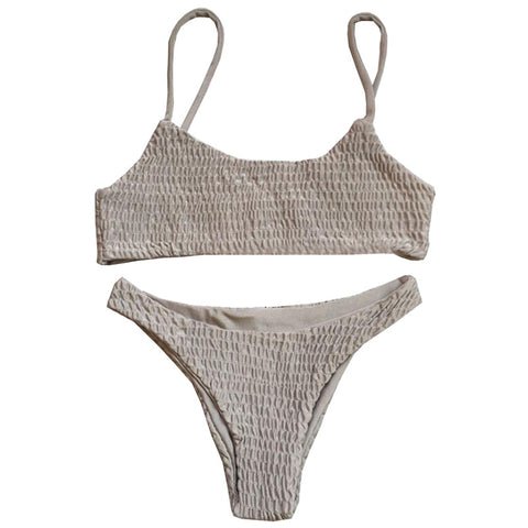 Olivia Strapless High Waisted Bikini Set - Khaki