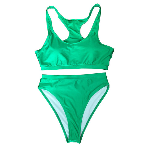 Carmen Strapless High Waisted Bikini Set  - Green