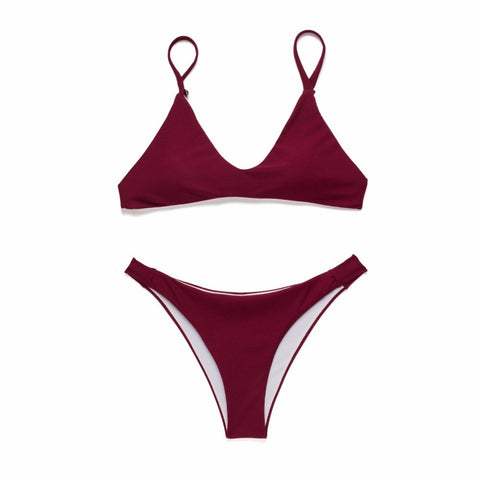 Allison Ribbed Bikini Set - Wine