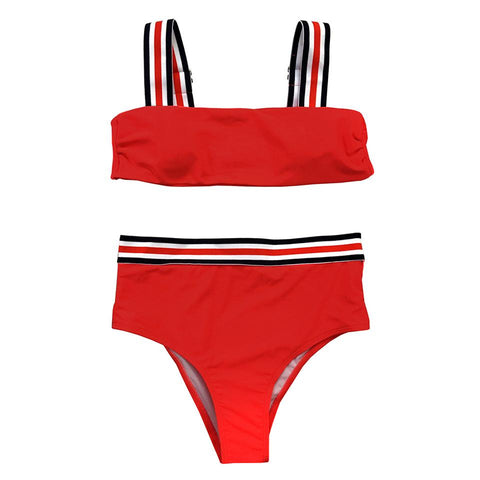 Camila High Waisted Bikini Set - Red