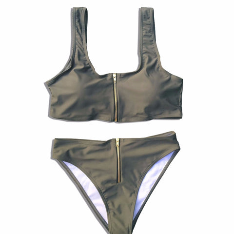 Brigitte High Waisted Bikini Set - Khaki