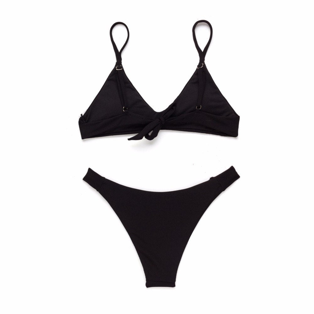 Allison Ribbed Bikini Set - Black