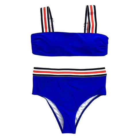 Camila High Waisted Bikini Set - Blue