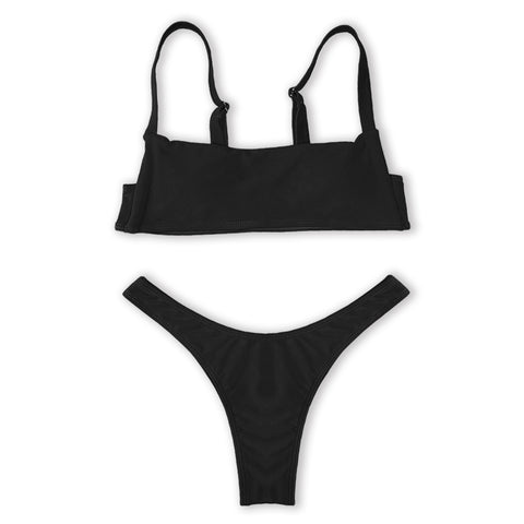 Claire Bikini High Waisted Set - Black