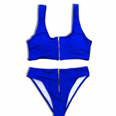 Brigitte High Waisted Bikini Set - Cobalt