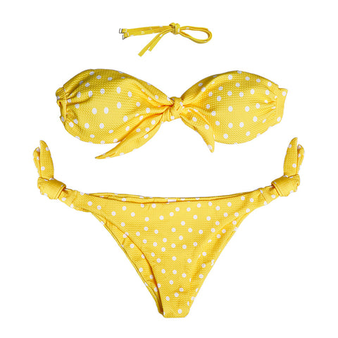 Cali Ribbed Bow Tie Bikini Set - Yellow