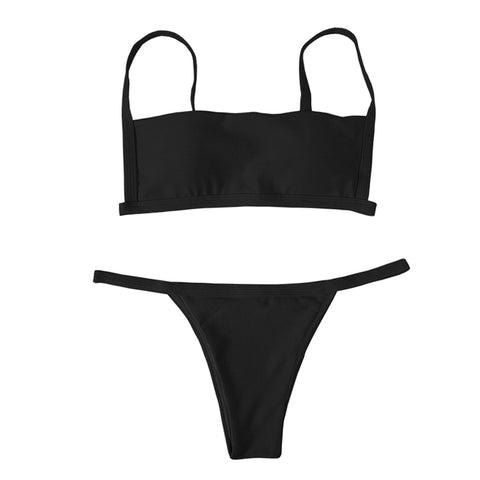 Rumi Ribbed Bikini Set - Black
