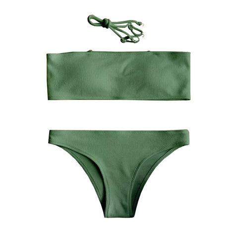 Alessia Strapless Ribbed Bikini Set - Green