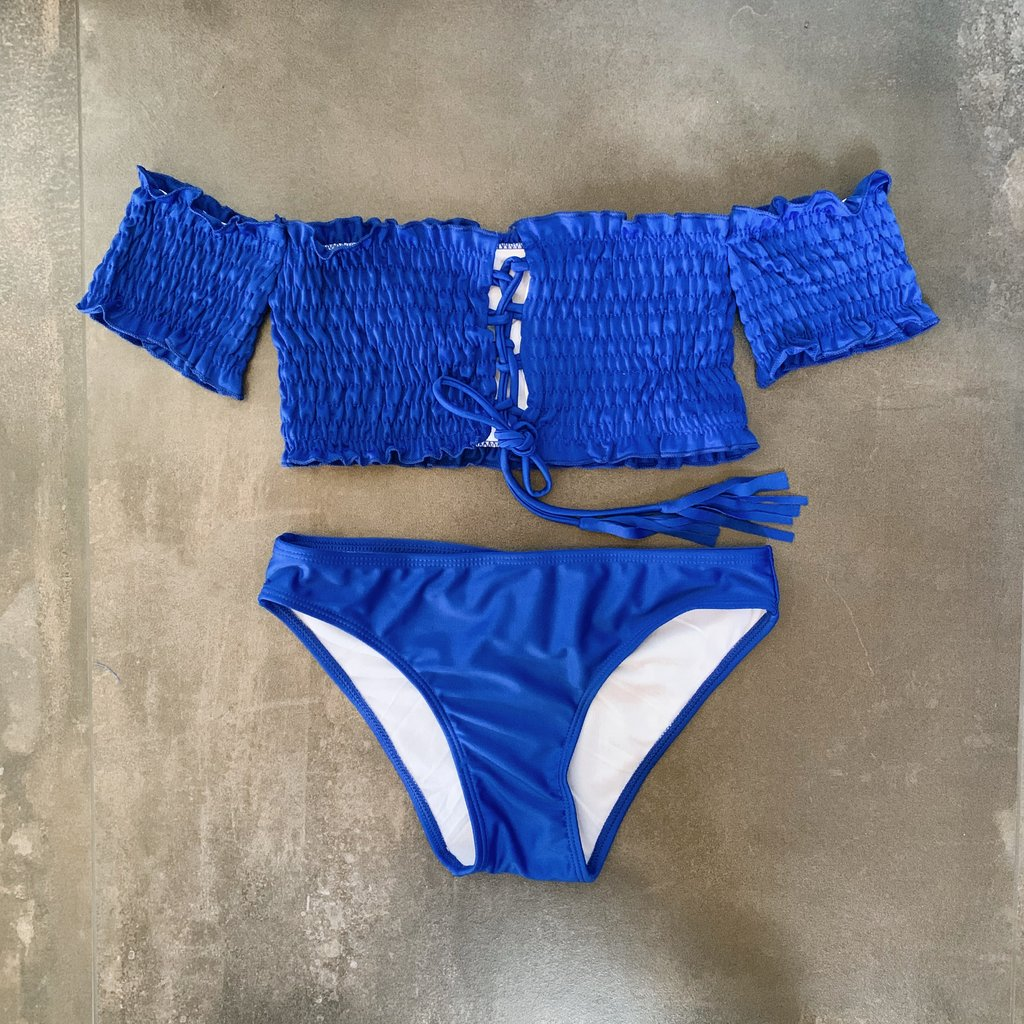 Kenzie Off Shoulder Bikini Set - Cobalt