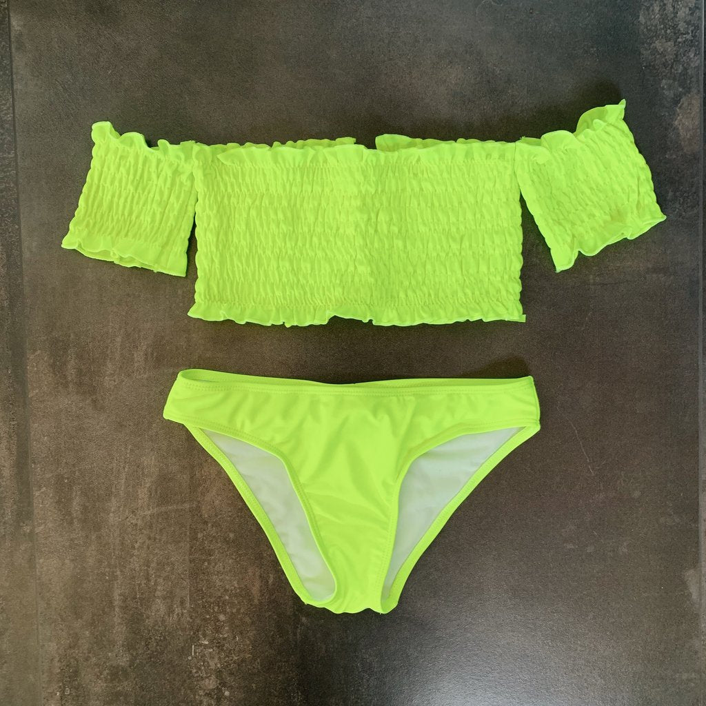 Kenzie Off Shoulder Bikini Set - Neon Lime