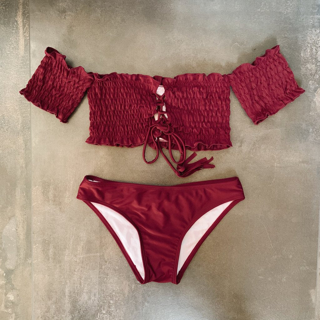 Kenzie Off Shoulder Bikini Set - Wine