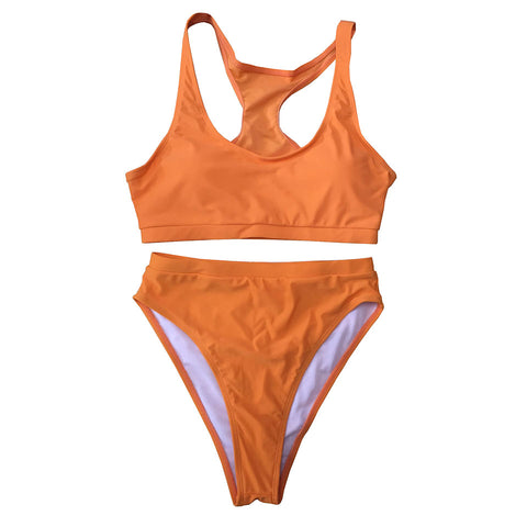 Carmen Strapless High Waisted Bikini Set  - Orange