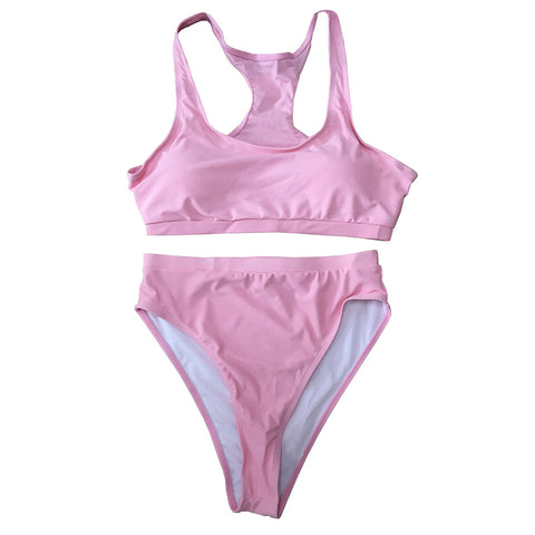 Carmen Strapless High Waisted Bikini Set  - Pink