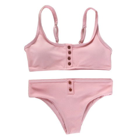 Aspyn Ribbed Bikini Set - Light Pink