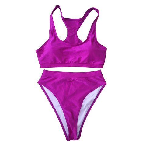 Carmen Strapless High Waisted Bikini Set  - Purple