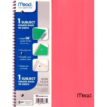 "Load image into Gallery viewer, Mead 1-Subject College Ruled 8.5"" x 11"" Plastic Cover Spiral Notebook (90 Sheets) Colors Vary"