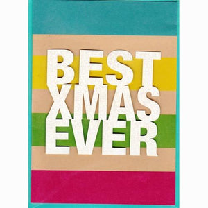 Best XMAS Ever Glitter Christmas Greeting Card with Envelope (5