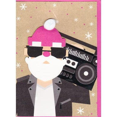 Cool Boombox Santa Claus Christmas Greeting Card with Envelope (5