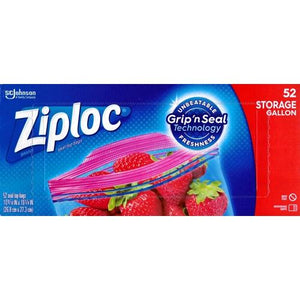Ziploc Gallon Size Plastic Seal Top Bags (52 Pack) Grip 'n Seal Technology