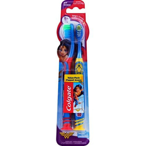 Colgate DC Comics Wonder Woman Kids Extra Soft Toothbrush Combo Pack (2 Pack)