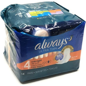 Always Ultra Thin Pads with Flexi-Wings - Size 4 Overnight (14 Pack)