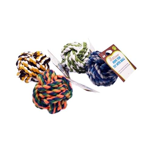 Pet Solutions Rope Tug Ball Toy for Small to Medium Sized Dogs (Colors Vary)