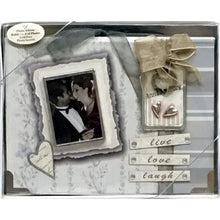 "Load image into Gallery viewer, Silver Anniversary 25th - Live Love Laugh 4"" x 6"" Mini Photo Album Gift Boxed (Holds 24 Pictures)"