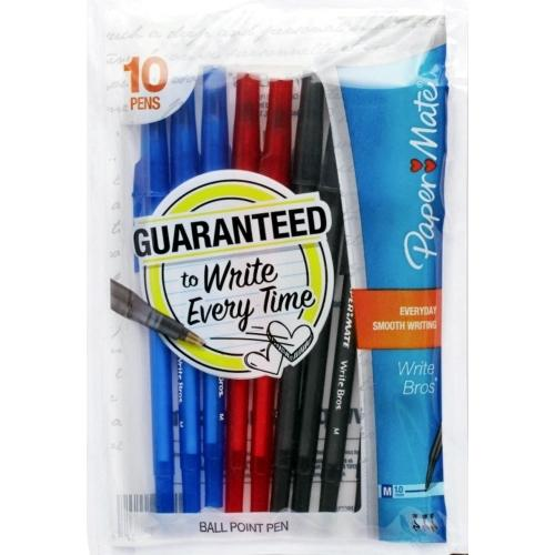 Paper Mate Write Bros. Assorted Color Ball Point Pens (10 pack) Guaranteed to Write Every Time! only $1.00 at DollarFanatic.com America's First & Only Exclusively Online $1 Store.