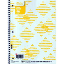 "Load image into Gallery viewer, Mead Wide Ruled 7.5"" x 10.5"" Spiral Notebook (90 Sheets) Colors Vary"