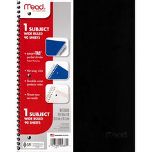 "Load image into Gallery viewer, Mead 1 Subject Wide Ruled 8"" x 10.5"" Plastic Cover Spiral Notebook (90 Sheets) Colors Vary"