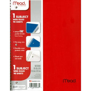"Mead 1 Subject Wide Ruled 8"" x 10.5"" Plastic Cover Spiral Notebook (90 Sheets) Colors Vary"