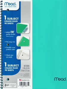 "Mead 1-Subject College Ruled 8.5"" x 11"" Plastic Cover Spiral Notebook (90 Sheets) Colors Vary"