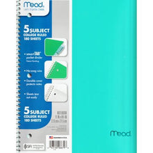 "Load image into Gallery viewer, Mead 5-Subject College Ruled 8.5"" x 11"" Plastic Cover Spiral Notebook (180 Sheets) Colors Vary"