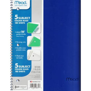 "Mead 5-Subject College Ruled 8.5"" x 11"" Plastic Cover Spiral Notebook (180 Sheets) Colors Vary"
