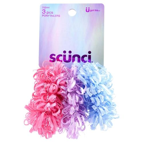 Scunci Loop Ribbon Hair Elastics Ponytail Holders (3 Count)