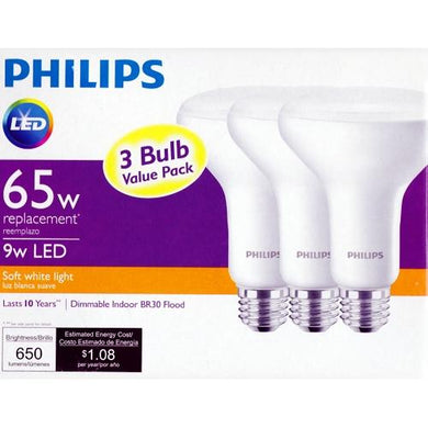 Philips 9 Watt LED Dimmable Indoor BR30 Flood Light Bulbs - Soft White Light (3 Pack) 65W Equiv. at DollarFanatic.com America's Exclusively Online Dollar Stores.