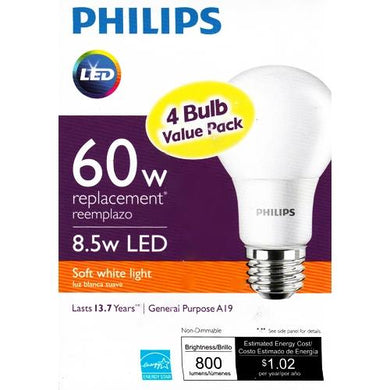 Philips 8.5 Watt LED Non-Dimmable Light Bulbs - Soft White (4 Pack) 60W Equiv. at DollarFanatic.com America's Exclusively Online Dollar Stores.