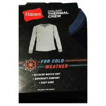 Load image into Gallery viewer, Hanes Men's Tagless Thermal Crew Neck Long Sleeve Top - Blue (Small)