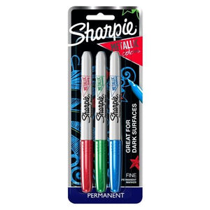 Sharpie Metallic Colors Fine Point Permanent Markers (3 Pack) Blue, Green, Red